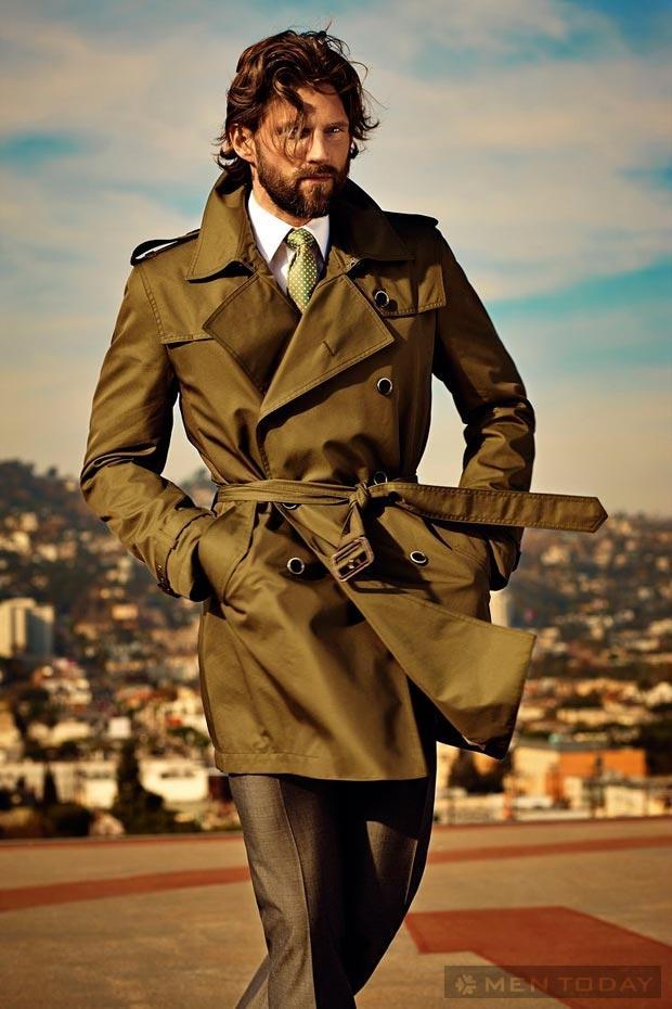 Những mẫu trench coat nam gam màu nổi