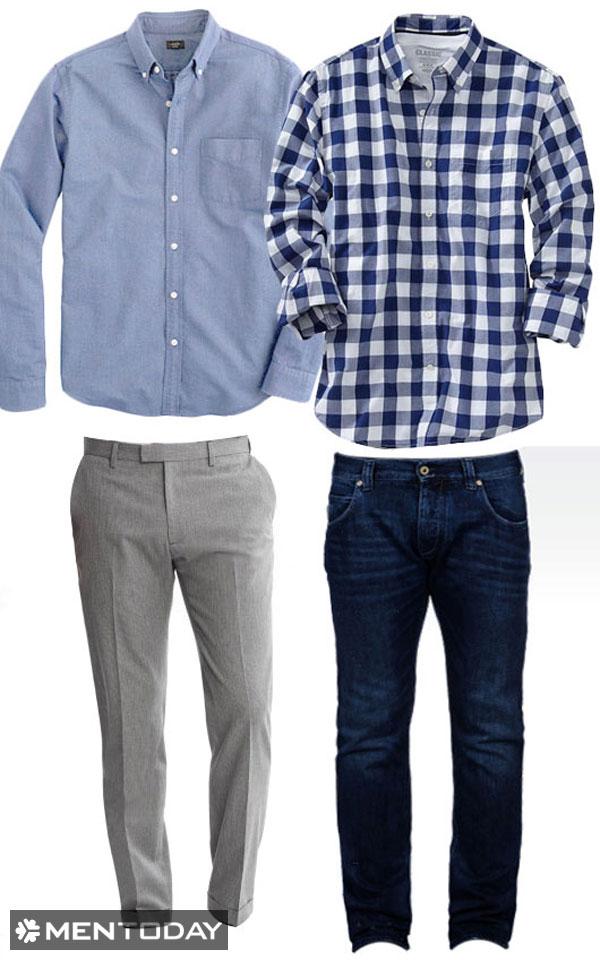 Chuẩn bị quần âu - áo sơ mi và quần jeans