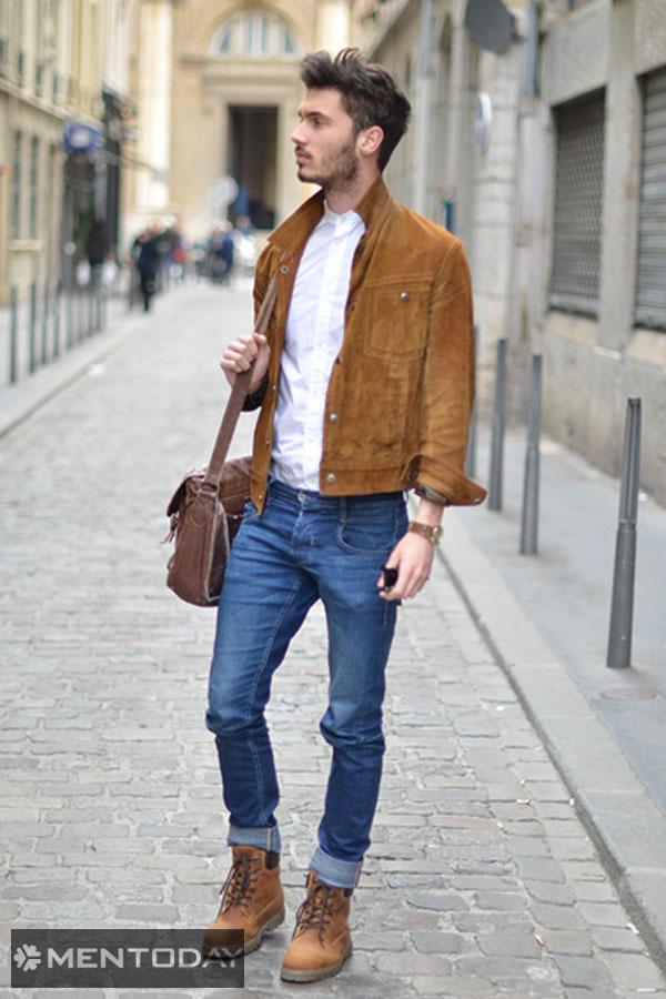 Chàng thanh lịch cùng sơ mi trắng và jeans