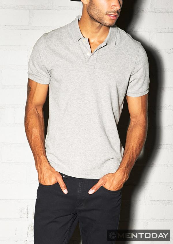 Một mẫu áo polo màu xám đầy nam tính