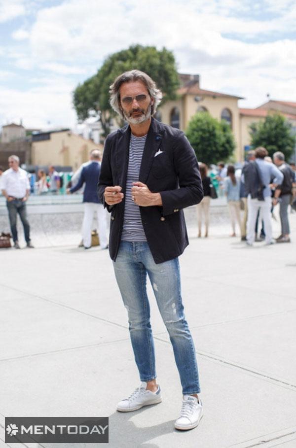 Quý ông đơn giản và thoải mái cùng quần jeans và blazer