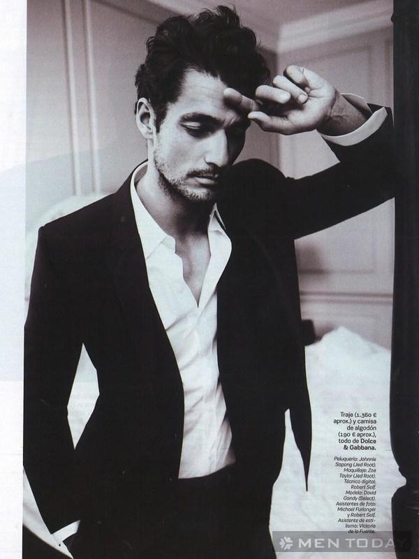 shoot hình đen trắng của David Gandy trên tạp chí
