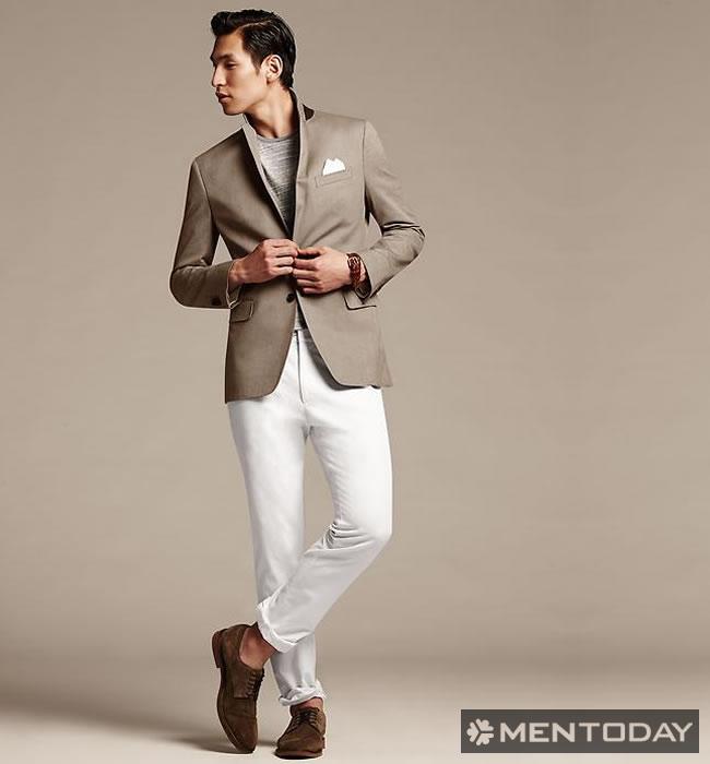 Tips mix đồ nam cùng quần jeans trắng